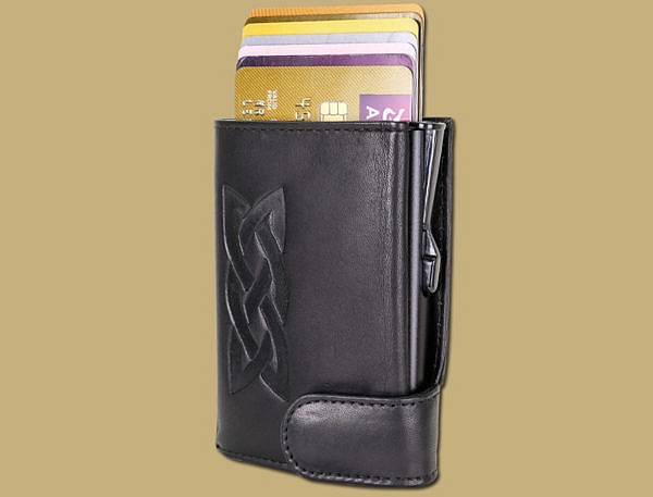 RFID pop up credit card wallet in black with celtic emboss by lee river leather