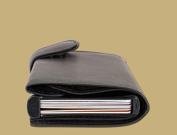 RFID pop up credit card wallet in black by lee river leather