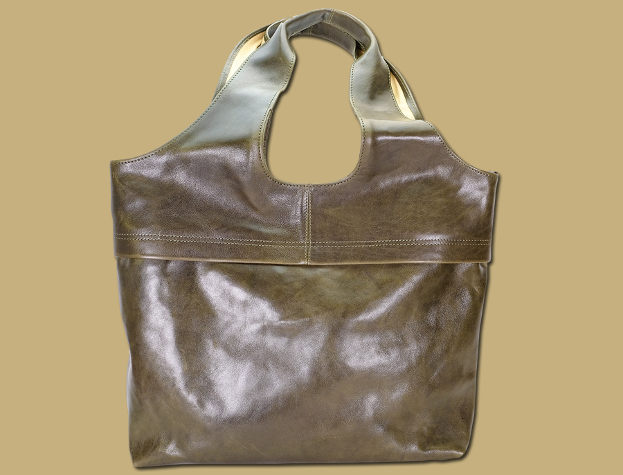 olive green large leather shopper bag by lee river leather