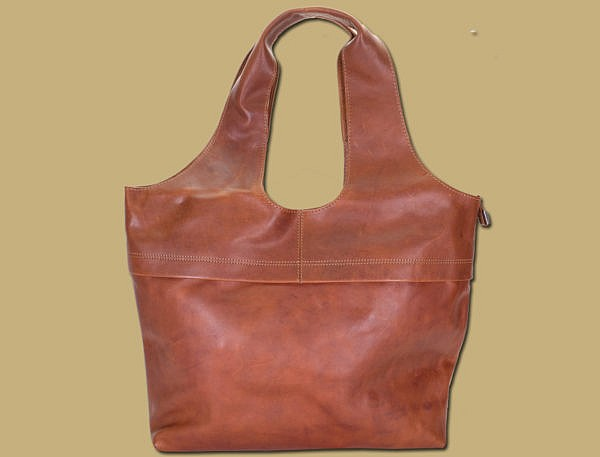 rustic tan large leather shopper bag by lee river leather
