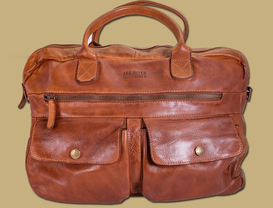 Rory Washed Leather Laptop Satchel Bag