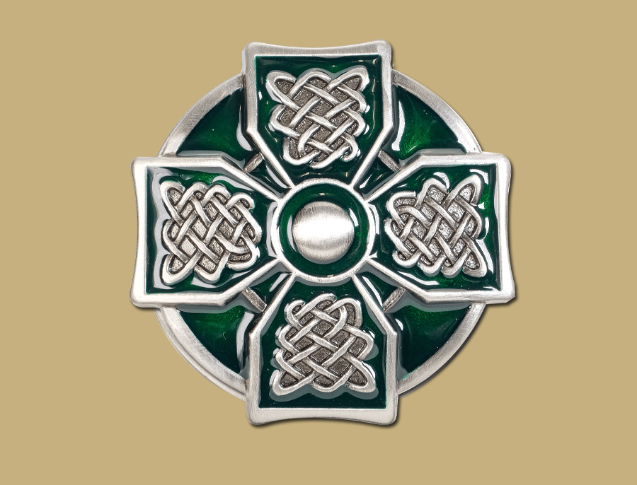 Green Pewter Celtic Cross Snap On Celtic Belt Buckle by Lee River Ireland