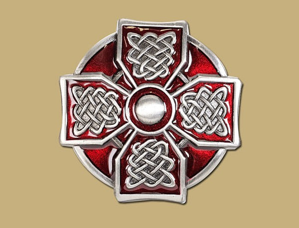 Red Pewter Celtic Cross Snap On Celtic Belt Buckle by Lee River Ireland