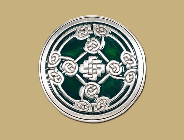 Green Pewter Snap On Celtic Belt Shield Buckle by Lee River Ireland