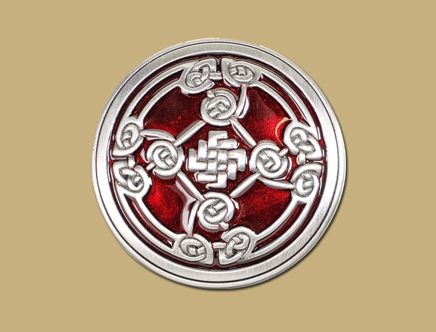 Red Pewter Snap On Celtic Belt Shield Buckle by Lee River Ireland