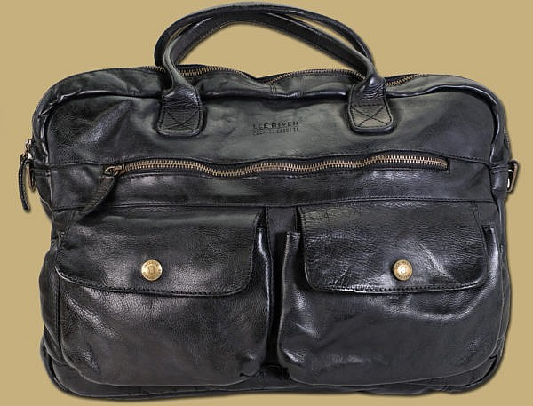 Black Distressed Leather Laptop Business Work Bag by Lee River Leather Ireland