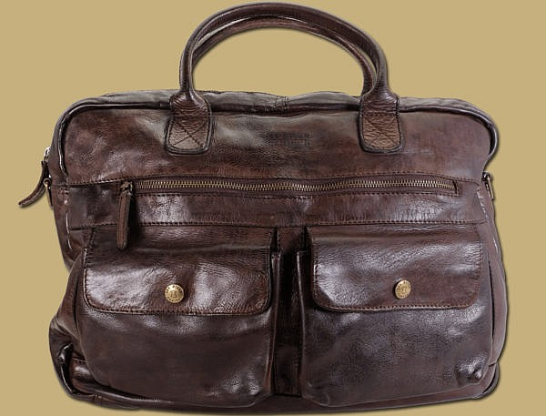 Dark Brown Distressed Leather Laptop Business Work Bag by Lee River Leather Ireland