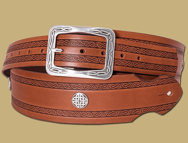 celtic embossed hand made guitar strap by Lee River Leather Ireland