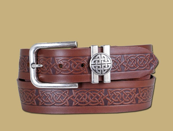celtic embossed brown leather belt with old silver eternal knot buckle