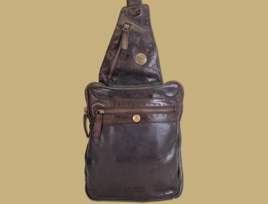 celtic brown sling bag with antique brass zip and concho