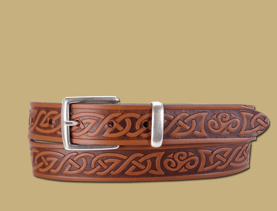celtic embossed brown belt hand made in ireland by lee river
