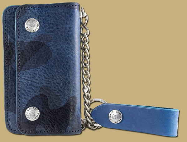 genuine leather blue camo chain wallet with fob and key chain