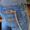 Denim Janes with Green Camo Leather Chain Wallet