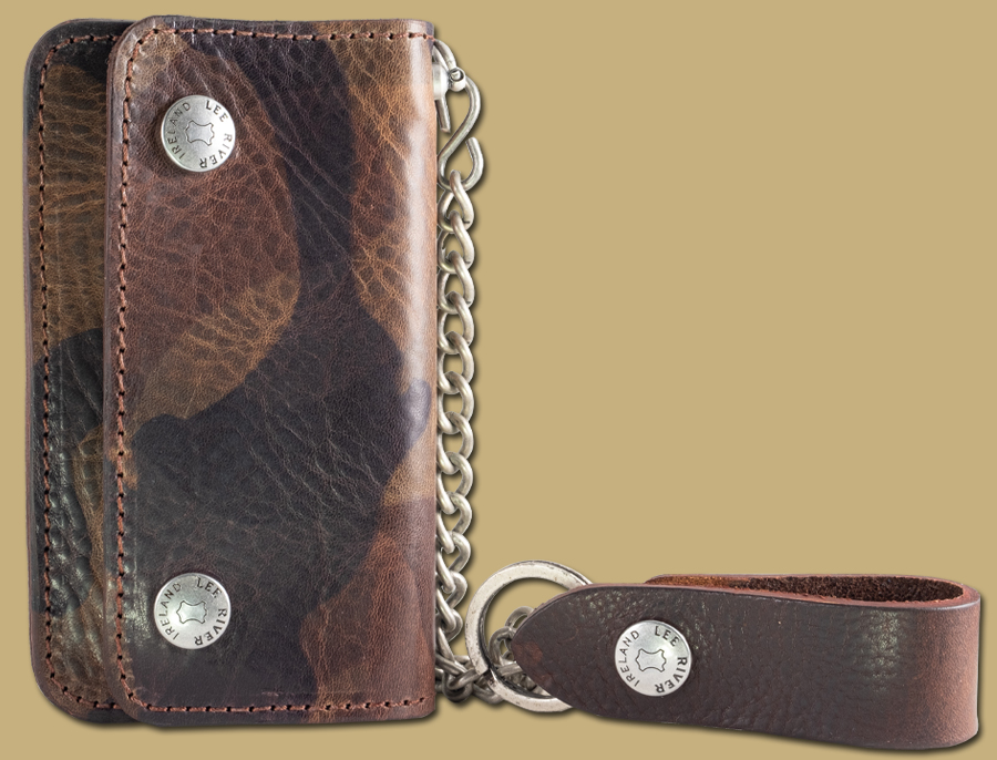 genuine leather green camo chain wallet with fob and key chain