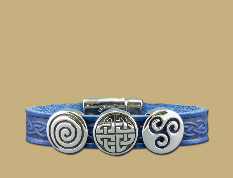Blue three charm celtic embossed cuff bracelet with stainless steel clasp