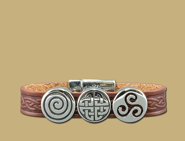 Brown three charm celtic embossed cuff bracelet with stainless steel clasp