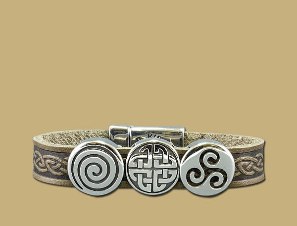Green three charm celtic embossed cuff bracelet with stainless steel clasp