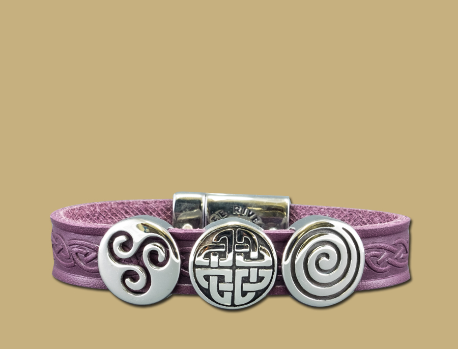 Purple three charm celtic embossed cuff bracelet with stainless steel clasp