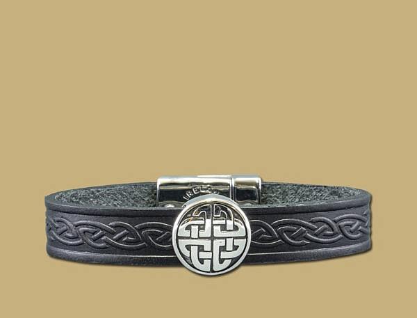 stainless steel leather celtic cuff with eternal knot in black