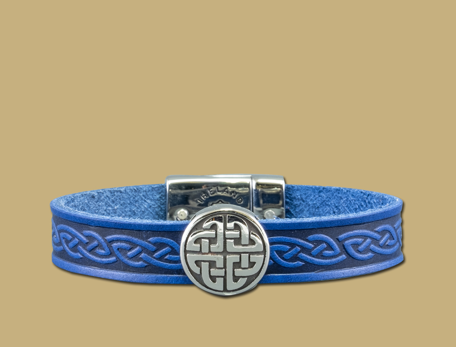 stainless steel leather celtic cuff with eternal knot in blue