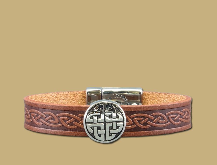 stainless steel leather celtic cuff with eternal knot in brown