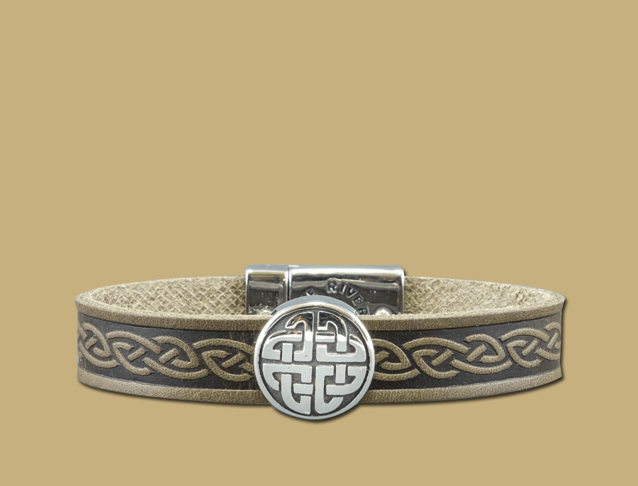 stainless steel leather celtic cuff with eternal knot in green