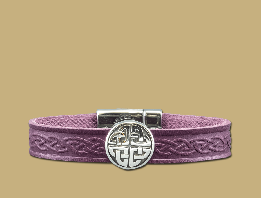 stainless steel leather celtic cuff with eternal knot in purple