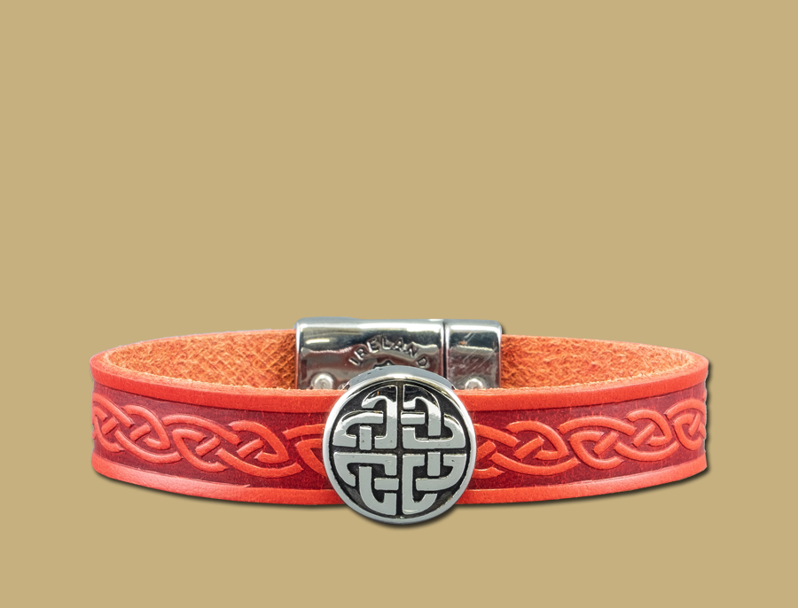 stainless steel leather celtic cuff with eternal knot in red