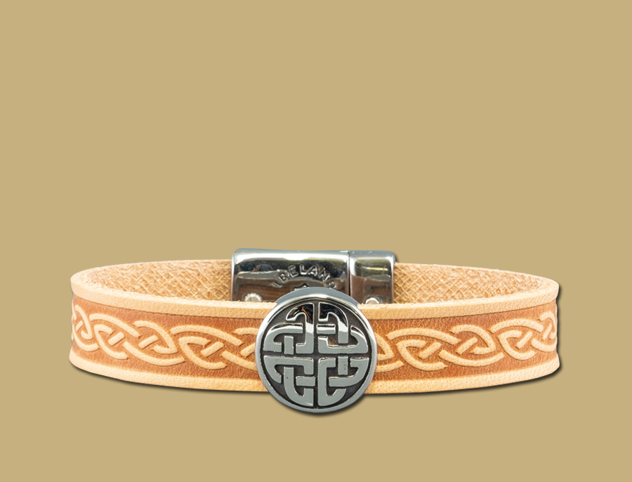 stainless steel leather celtic cuff with eternal knot in tan