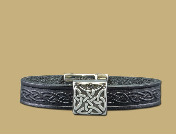 black braden celtic embossed cuff bracelet with stainless steel clasp