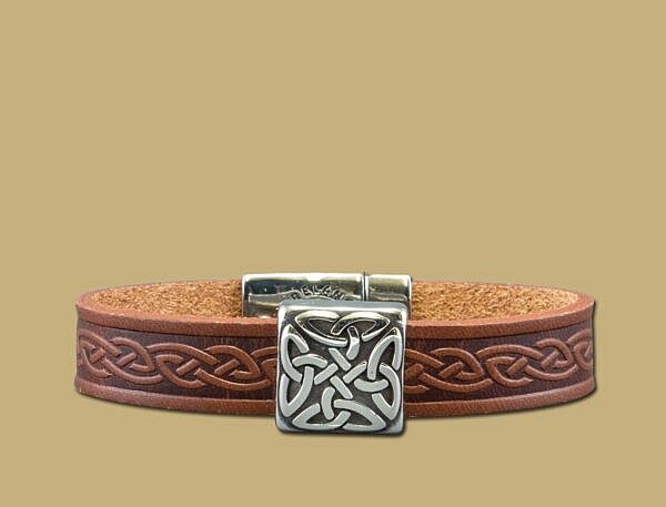 brown braden celtic embossed cuff bracelet with stainless steel clasp
