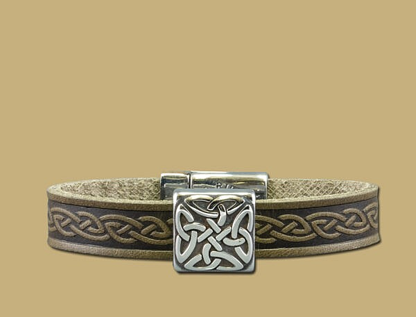 green braden celtic embossed cuff bracelet with stainless steel clasp