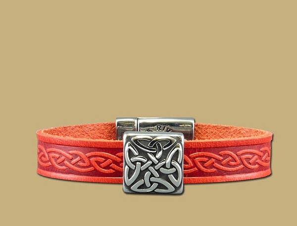 red braden celtic embossed cuff bracelet with stainless steel clasp