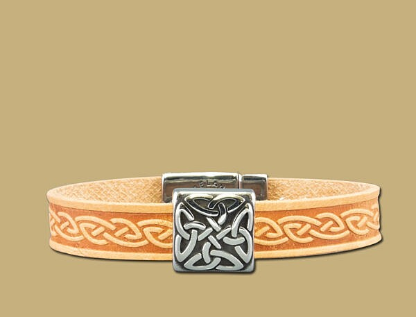 tan braden celtic embossed cuff bracelet with stainless steel clasp