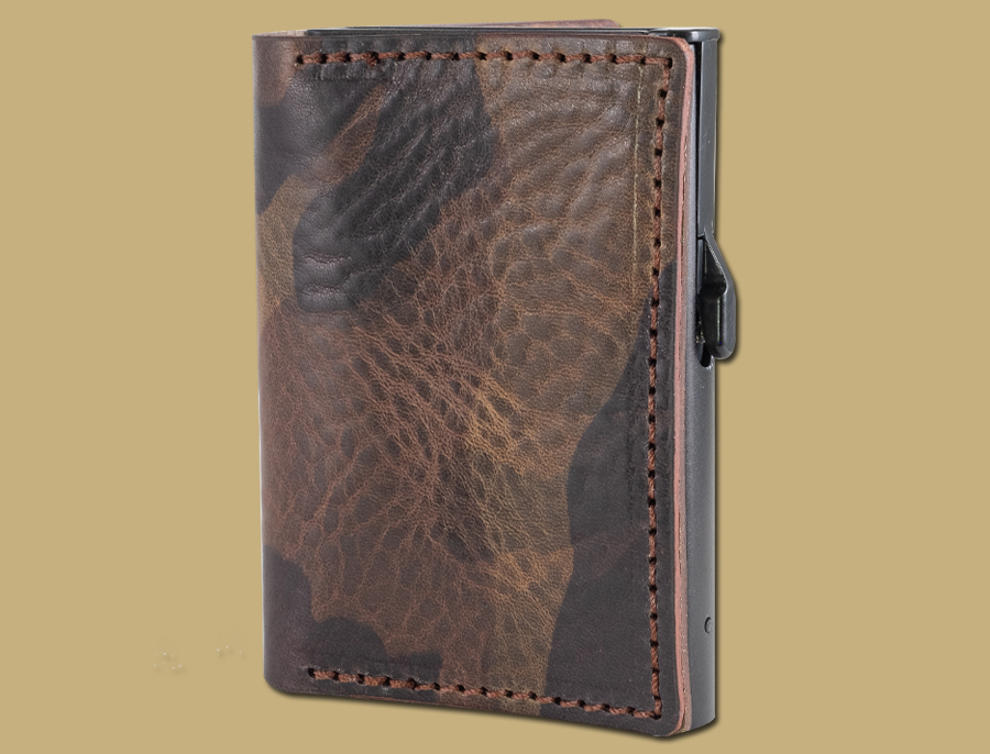 RFID secure anti scan card holder in camo leather hand made in Cork Ireland