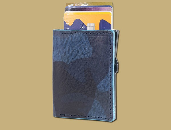 RFID anti scan card holder in blue camo leather hand made in Cork Ireland