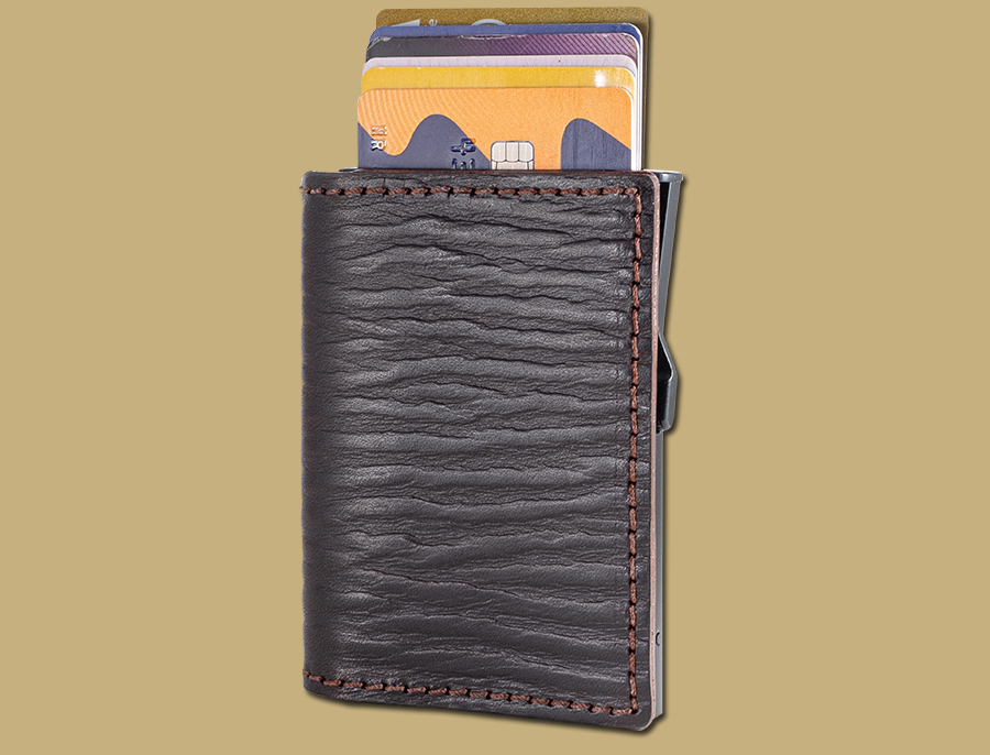 RFID-pop-up-card-wallet-dark-brown-embossed